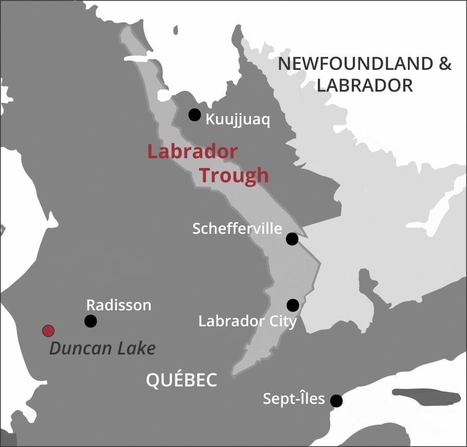 Century Iron Mines Corporation-Labrador Trough map